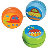Bigjigs Toys Wooden Transport Themed Yo-Yo's (Pack of 3 - Car) - Small Gifts, Pocket Money Toys