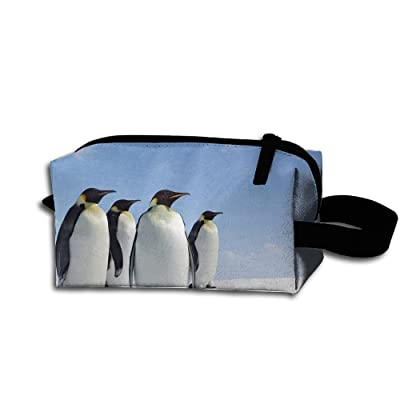 Makeup Cosmetic Bag Animals Ice Penguins Snow Zip Travel Portable Storage Pouch For Men Women