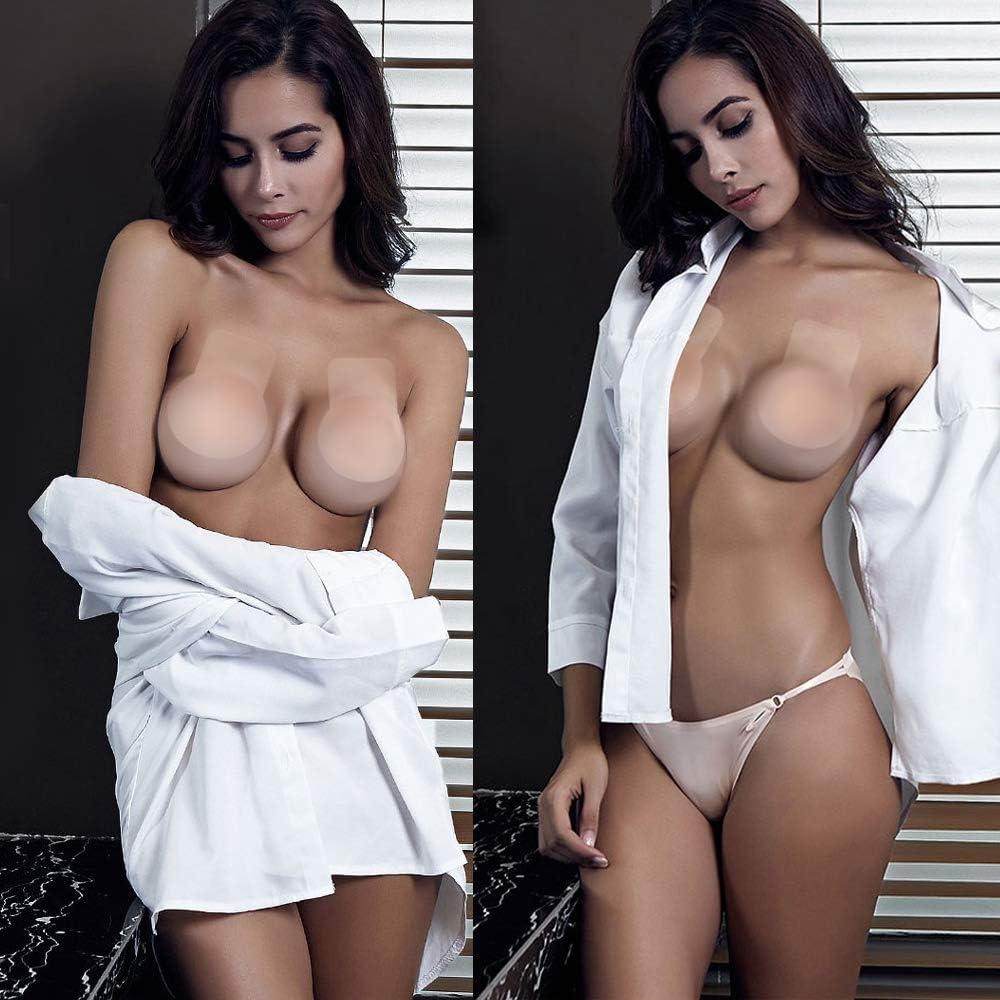SAKUUMI Reggiseno Adesivo Reggiseno Invisibile Backless Reggiseno Super Sticky Breast Lift Tape Senza Spalline Push Up Party Riutilizzabile Antiscivolo Reggiseno in Silicone con capezzoli