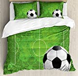 Soccer King Size Duvet Cover Set by Ambesonne, Grunge Worn Looking Pitch Pattern Football Six Yard Box Vintage Illustration, Decorative 3 Piece Bedding Set with 2 Pillow Shams, Green Black White