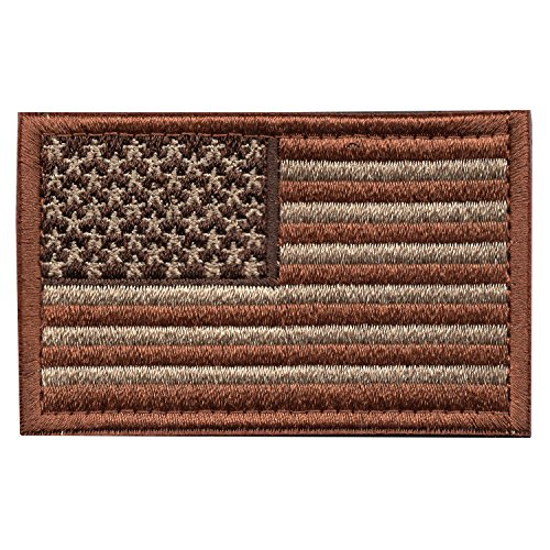 Patriot Club American Flag Embroidered Patch Tactical Morale Velcro USA Military Uniform Emblem (Stealth Brown)
