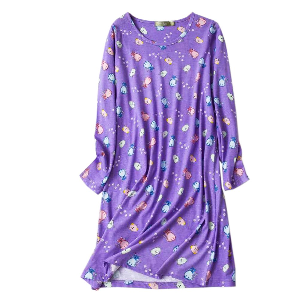 Women\'s Cotton Sleepwear Long Sleeves Nightgown Print Tee Sleep Dress (XL/XXL, Purple)