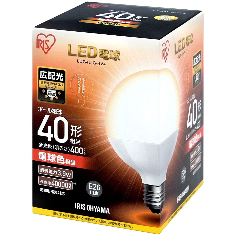 アイリスオーヤマ LED電球 口金直径17mm 60W形相当 電球色 広配光タイプ 1個/2個 単品/セット