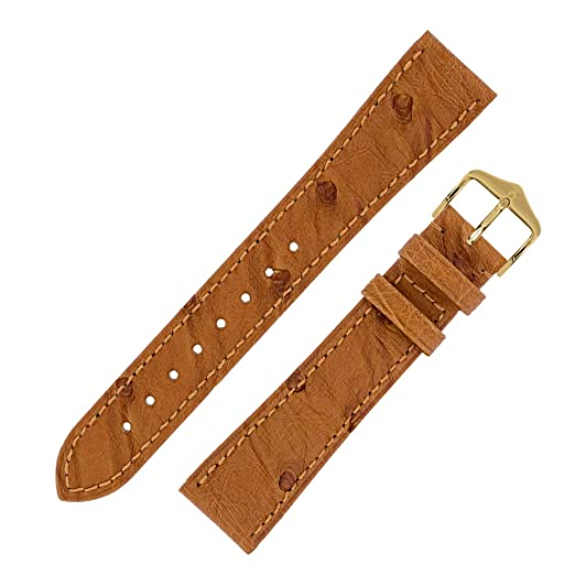 701363d07 Hirsch MASSAI Ostrich Leather Watch Strap with Buckle in Gold Brown (14mm  M, Gold