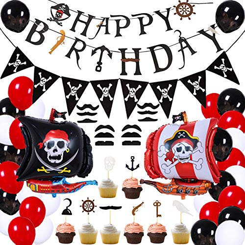 75Pcs Pirate Birthday Party Decorations for Kids Pirate Theme Party Supplies Birthday Party Baby Shower Pirate Happy Birthday Banner Pirate Balloons Mustaches Cupcake Toppers for Boys Children 1st 2nd 3rd 4th Birthday Supplies -