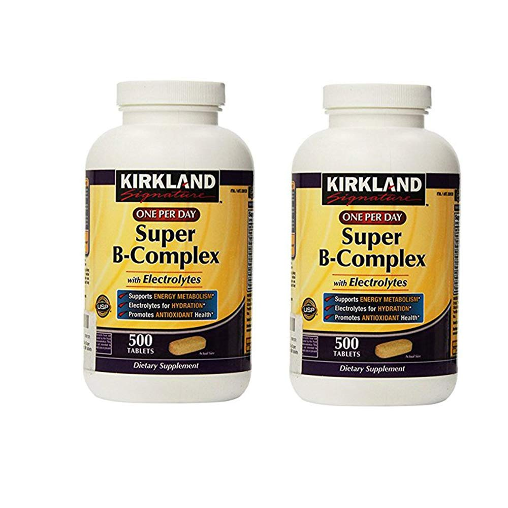 KIRKLAND SIGNATURE One Per Day Super B-Complex with Electrolytes, 1000 Count (Pack of 2)