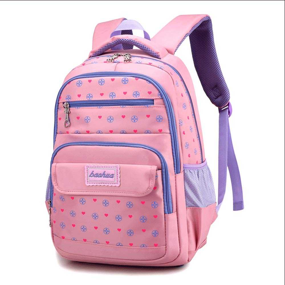 Backpack - Childrens School Bag Primary School Girl 6-12 Years Old Princess Bag 3-6 Grade Backpack Large Capacity Leisure Travel Bag [Five Colors Optional] ...
