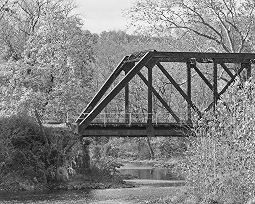 Black and White Photograph - Railroad Truss Bridge -