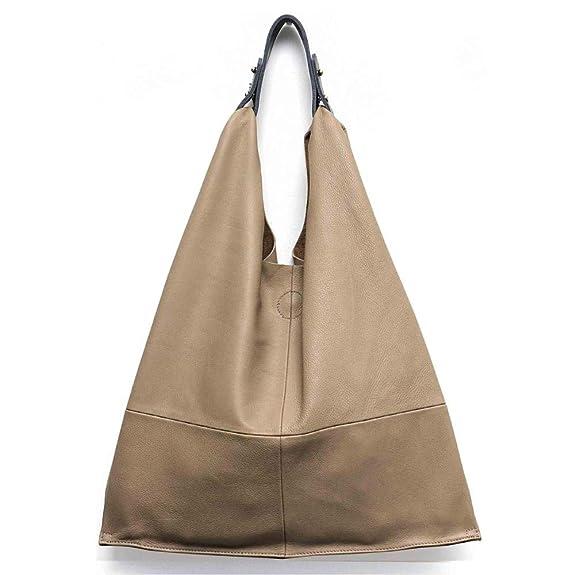 241958e189 Amazon.com  MONFERE Casual Women Hobo Bag Soft Genuine Cow Leather Fashion  Shoulder Bags Female Large Tote Bucket Shopping Handbag Liner Bag Color  NATURAL  ...