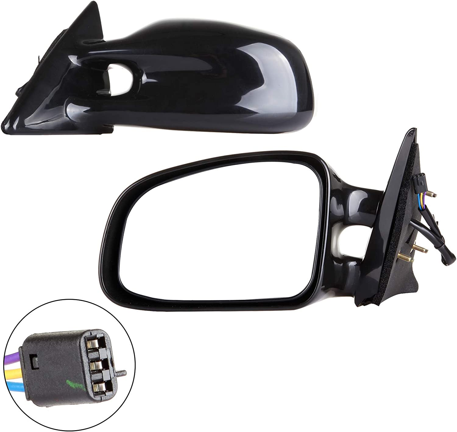 AUTOMUTO Black Rear-Vision Mirror Left Side View Mirror Non-Folding Power Adjustment Non-Heated Fit Compatible with 1999-2003 Pontiac Grand Am 10312053