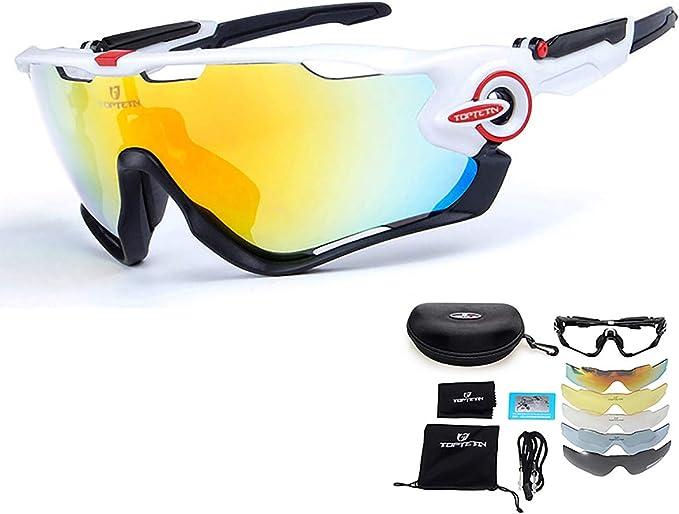 Gafas de sol deportivas polarizadas Protección UV400 Gafas de ciclismo Lentes intercambiables para ciclismo, béisbol, pesca, esquí, carreras, Contiene Cinco Variedad de Lentes de decoración (Blanco): Amazon.es: Ropa y accesorios