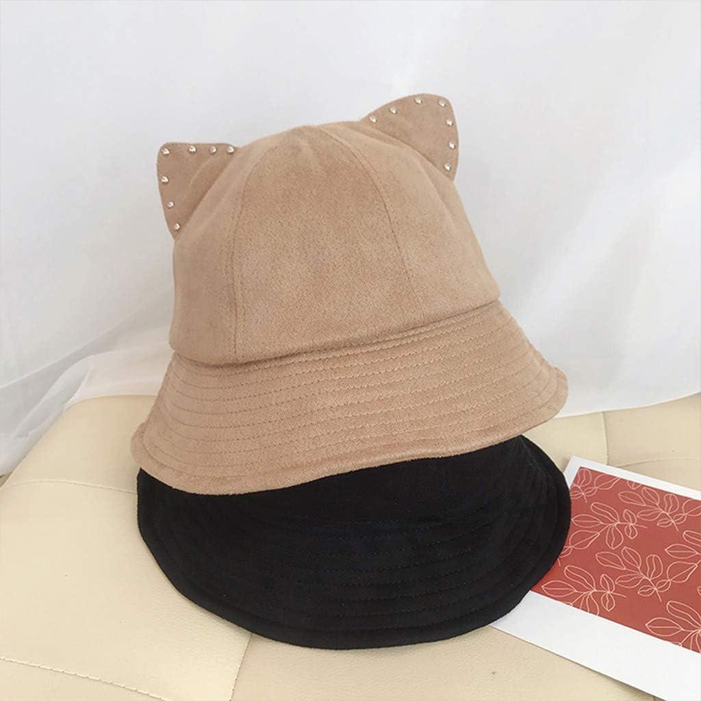 PHILSP Cartoon Bucket Hat Cute Rhinestone Cat Ears Short Brum Party Fisherman Cap Khaki