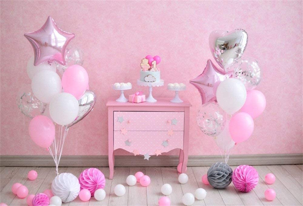 10x8ft Baby 1st Birthday Backdrop Girl Glitter Stars One Year Old Date of Birth Party Unicorn Head Photography Background Pastel Color Video Drape Photo Studio Props
