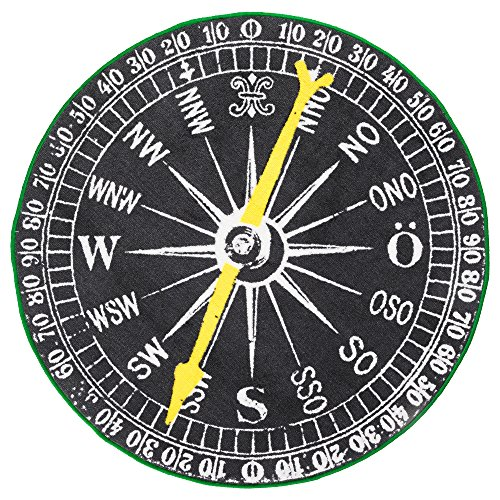 ... Ikea Compass Black White Round Throw Area Rug Mat Low Pile Nautical