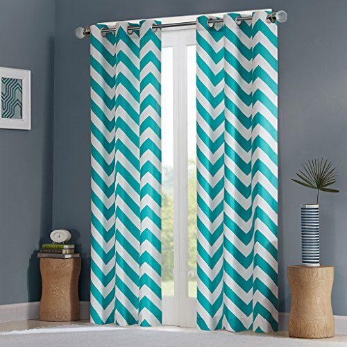 Intelligent Design Teal Room Darkening Curtains for Bedroom, Libra Print Chevron Grommet Curtains for Living Room, Polyester Modern Window Curtains, 42X63, 2-Panel Pack (Aqua And Bedroom Coral)
