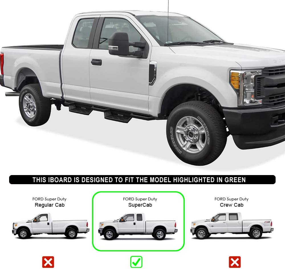 APS Drop Steps Running Boards Rocker Slider Compatible with Ford F250 F350 Super Duty 1999-2016 Extended Cab