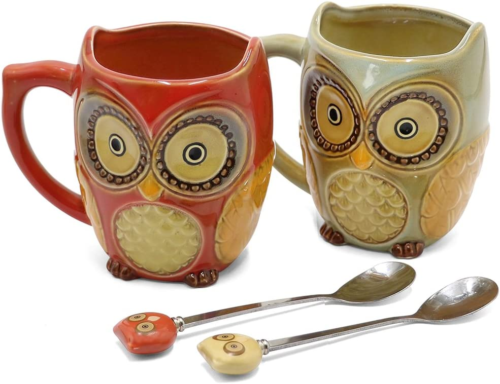 SQOWL 3D Coffee Mug Cute Set of 2 Owl Ceramic Coffee Mugs with spoons Office Tea Cups for Women Men 12 oz Cyan and Red