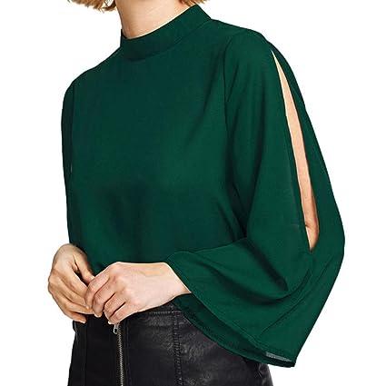 7dda9607905f Amazon.com  Hemlock Ladies Office Shirts Flare Sleeves Chiffon Tops Summer  Work Tee Blouse T Shirts (M
