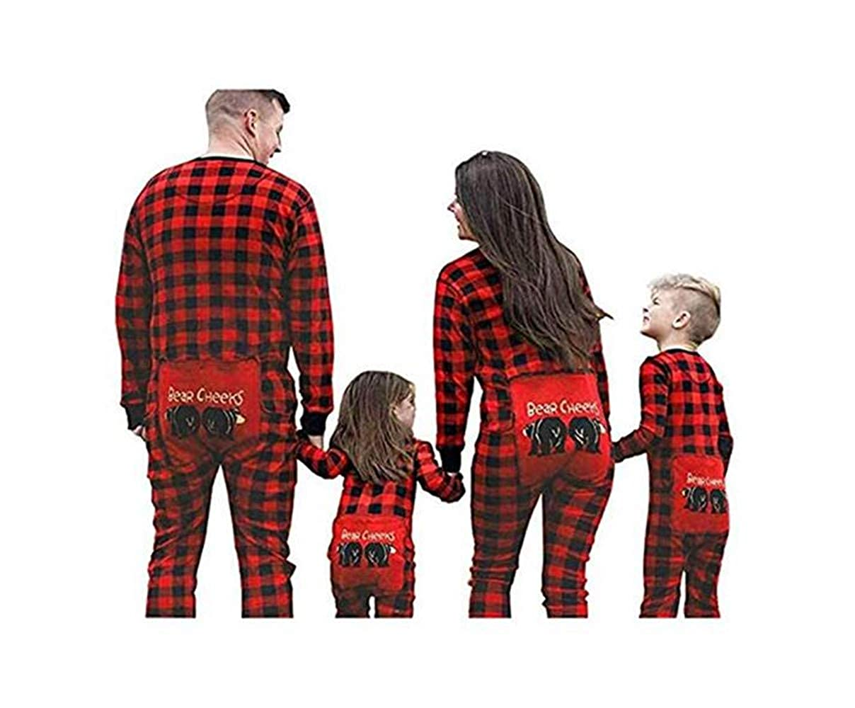 Happyjiu Family Matching Christmas Pajamas Long Sleeve Plaid Family Pajamas