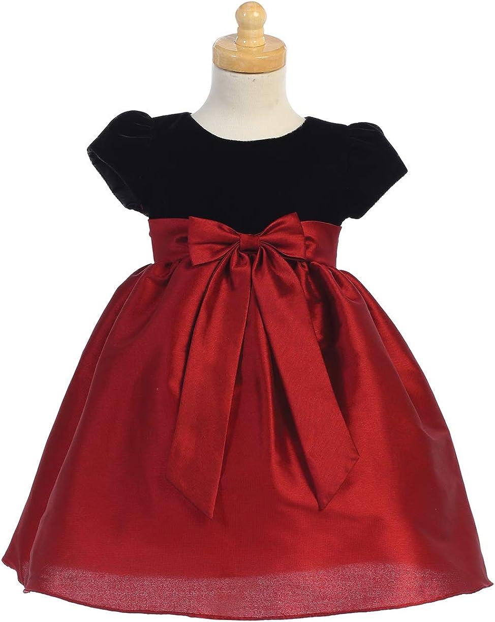 Flower Girls Black Velvet Red Dress Baby Toddler Kids Christmas Easter  Wedding Party