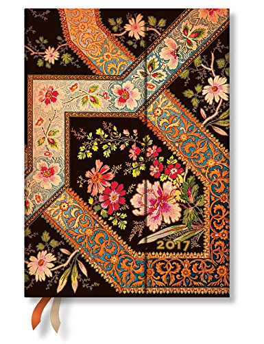 Filigree Floral Ebony Midi - Paperblanks 2017 Weekly Planner (5 x 7 Horizontal)