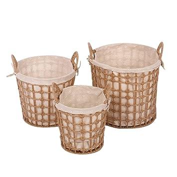 FORWIN UK Cestas de lavanderia- Juego de 3 cestas de Almacenamiento de Tejido Dormitorio de
