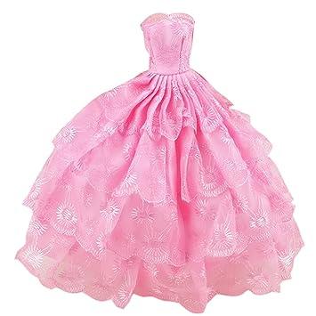 Mädchen Puppen Spielzeug Satin Hochzeit Partei Kleider Outfits ...