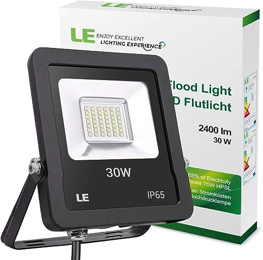 LE Foco LED de 30 W, 2400 Lúmenes, IP65 resistente al agua, Blanco ...
