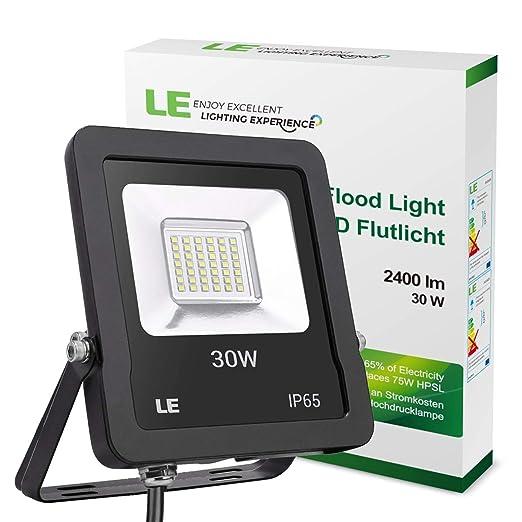 LE Foco LED de 30 W, 2400 Lúmenes, IP65 resistente al agua, Blanco Frío 5000 K, Floodlight Exteriores Interiores, Foco Proyector LED Ideal para ...