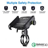 Waterproof Motorcycle Phone Holder USB Quick Charge 3.0 Socket Handlebar Phone Mount Charger Compatible with Samsung iPhone Cellphones
