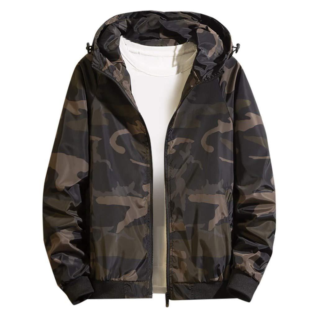 Bravetoshop Mens Casual Camouflage Print Zip up Hoodie Jacket Lightweight Sweatshirt Outwear Coat(Green,M) by Bravetoshop