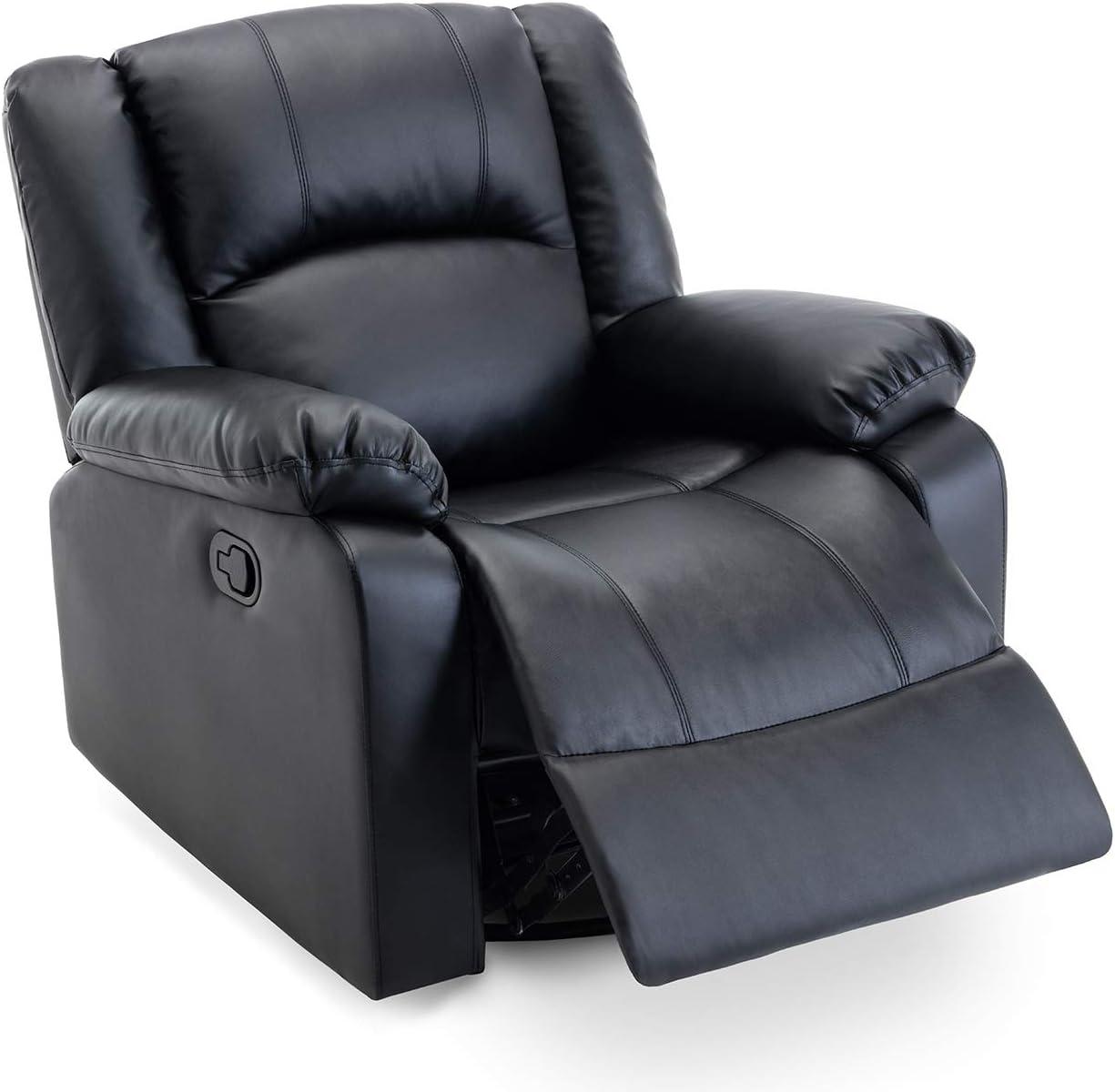Belleze Swivel Glider Faux Leather Rocker Recliner Chair Overstuffed Armrest Backrest, Black