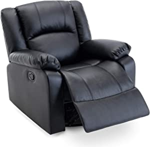 Belleze Faux Leather Rocker and Swivel Glider Recliner Living Room Chair, Black