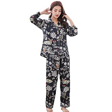 36bc47cfd GAESHOW Satin Silk Pyjamas Set Womens Loungewear Pyjamas for Women Comfy  Warm Soft Womans Silky Lounge