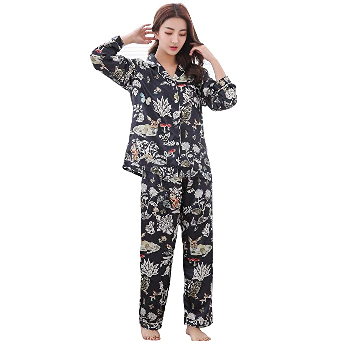 893d07508372 GAESHOW Satin Silk Pyjamas Set Womens Loungewear Pyjamas for Women Comfy  Warm Soft Womans Silky Lounge pjs  Amazon.co.uk  Clothing