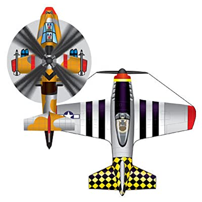 MicroKite 2 Pack, set of 2 Mini Mylar Kites, P-51 Mustang Plane & Apache Copter: Toys & Games
