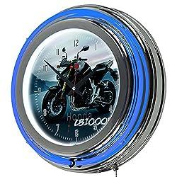 Honda CB1000R Chrome Double Ring Neon Clock, 14