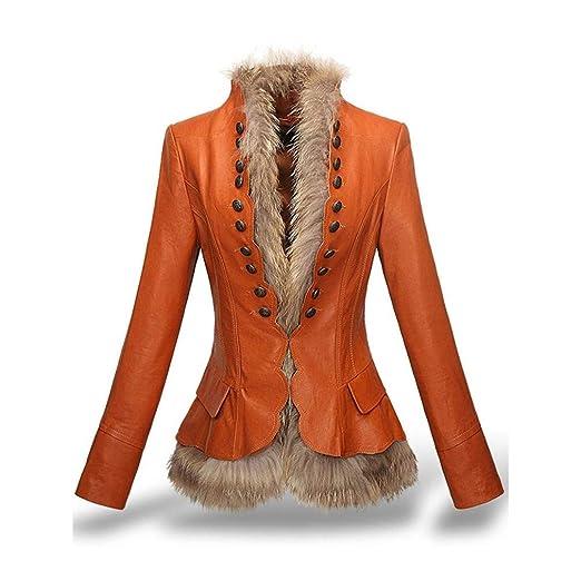 bbed63c1d0 HYDSFG Women Faux Leather Coats Jacket Rivet Slim Cool Overcoat ...
