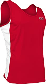 product image for PT980 Men's Single Ply Light Weight Dash Singlet-Moisture Management and Odor Prevention Technology-Triathlons, Marathons, Track, and Field Events (Large, Red/White/Red)