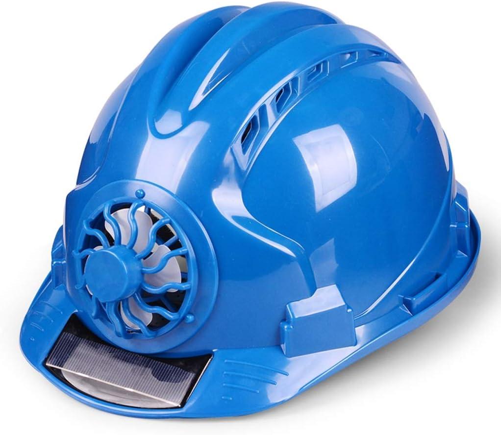 YYH Comodo Casco de Seguridad con Ventilador Sitio de construcción ventilado Protección Solar Casco de Seguridad Casco Protector Transpirable, Selección Multicolor (Color : Blue)