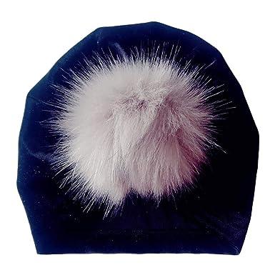 Iuhan Turban Hats Big Ball Hats Ruffle Elastic Cotton Turban Head Wrap  Headwear Cap Christmas AS e672a9fc726e