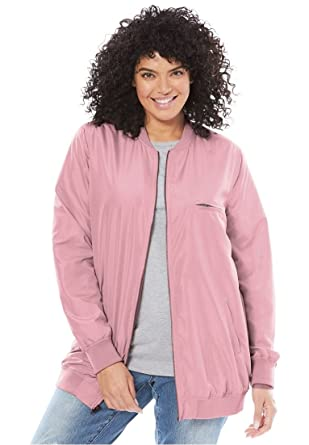 23ba9599ca5 Women's Plus Size Lightweight Bomber Jacket at Amazon Women's ...