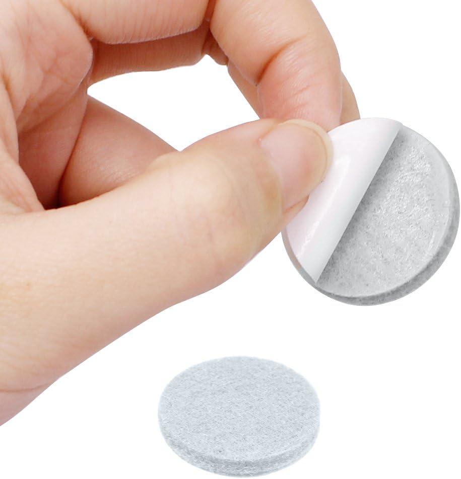 60 unidades, 2,5 cm, fieltro antideslizante YuCool Almohadillas de fieltro antideslizantes para muebles color blanco
