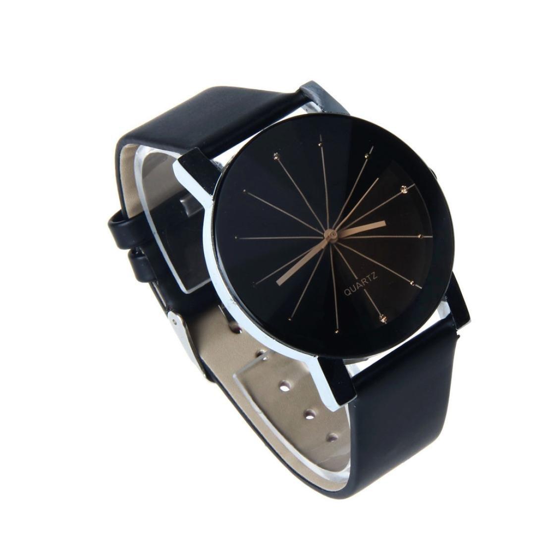 Montre Ronde Unisexe Convexe Cadran De Poignet En Cuir Quartz Horloge (Homme,  Noir)  Amazon.fr  Montres c0374d4a57c