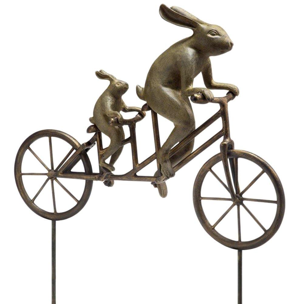 Tandem Bicycle Bunnies Garden Statue