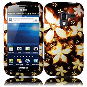 Compatible with Samsung© Galaxy Exhilarate i577(AT & T) Rubberized Design Cover - Gold Flower