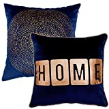 Decorative Pillow Cover - Valery Madelyn 18 x18 Inch Set of 2 Blue Gold Throw Pillow Case Decorative Pillow Cover for Sofa Couch, Mix of Bronzing HOME and Spot Design