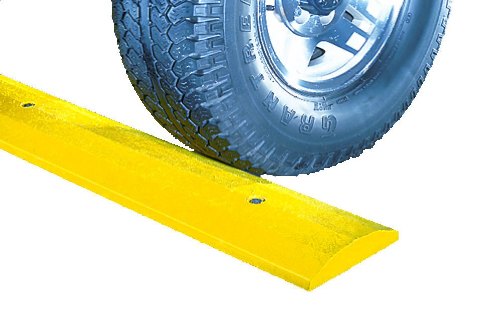 SloMo SB4D-Y Recycled Plastic Deluxe 4' Speed Bump without Hardware, Yellow, 48'' Length, 12'' Width, 2.25'' Height