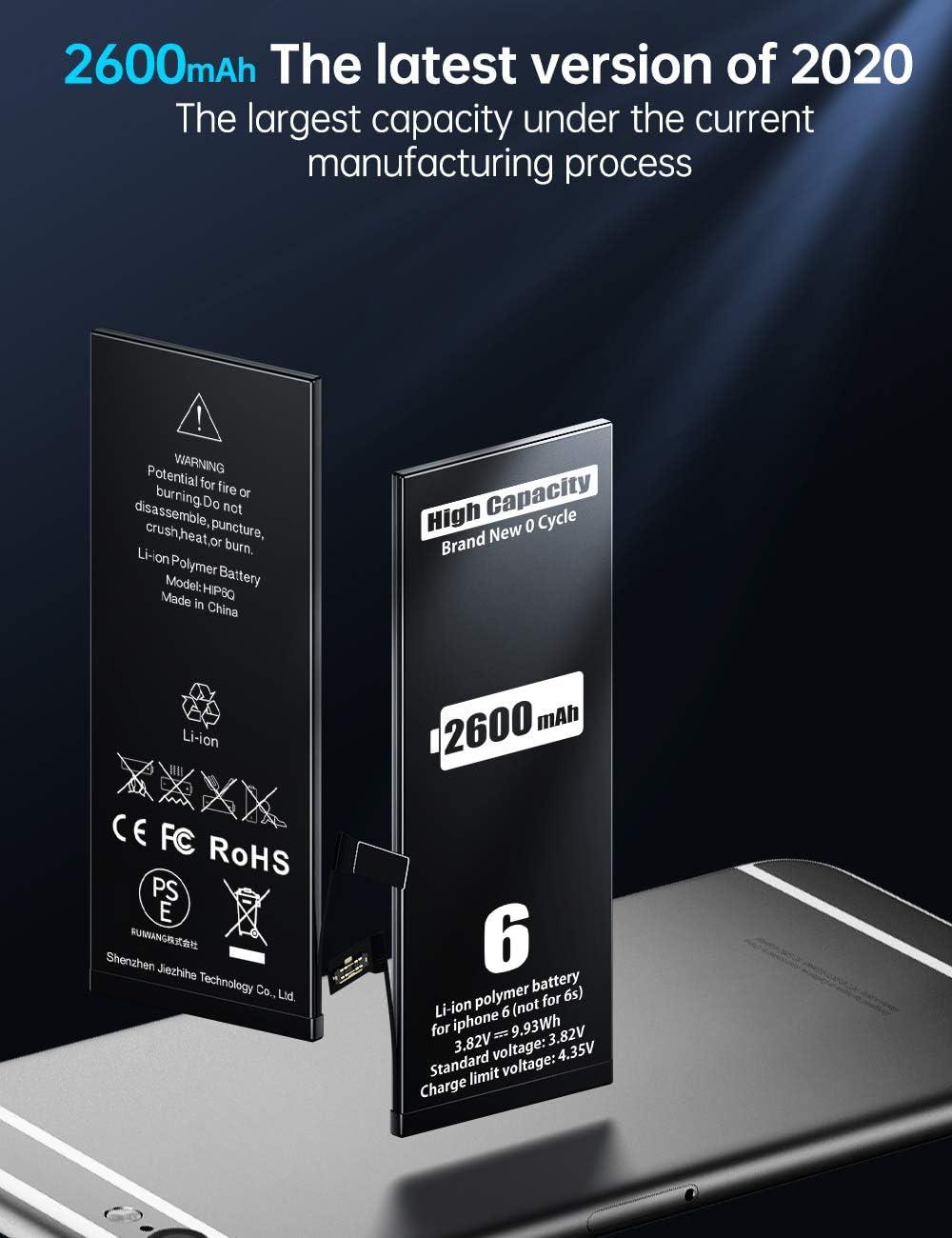 Derni/ère Version Outils de r/éparation Professionnels complets 2600mAh Batterie pour iPhone 6 MNT Remplacement de Haute Capacit/é Que Les Autres Instruction