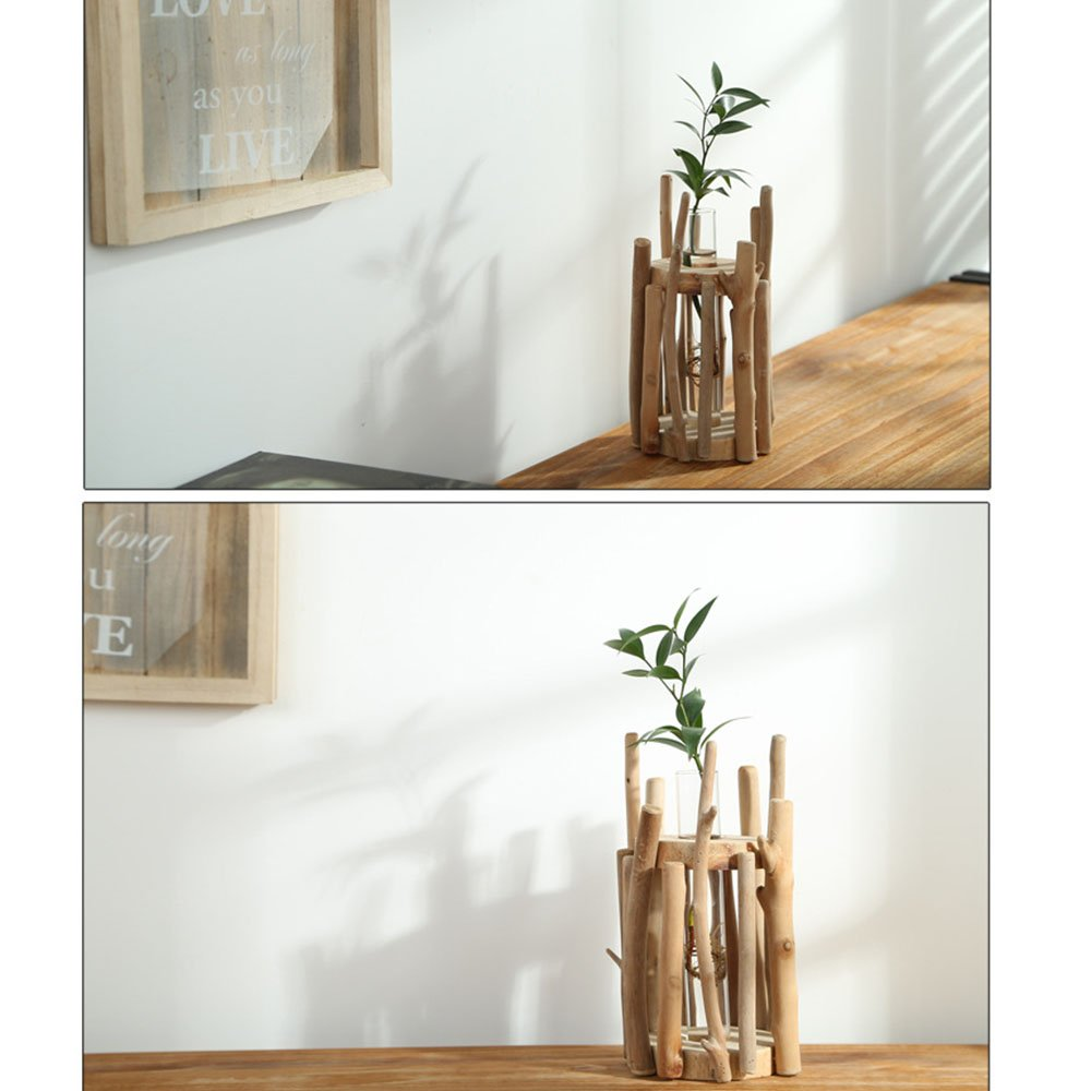 Anthree Vases for Decor Tall, Wood Vase Round for Centerpieces Clear Glass Vase for Flower by Anthree (Image #5)